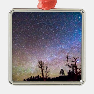 Starry Universe Square Metal Christmas Ornament