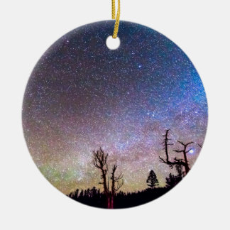 Starry Universe Double-Sided Ceramic Round Christmas Ornament