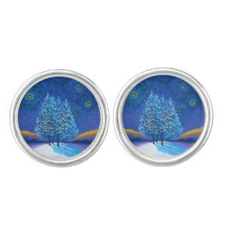 Starry Van Gogh Style Blue Christmas Cufflinks