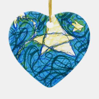 Starry Vibrato Double-Sided Heart Ceramic Christmas Ornament