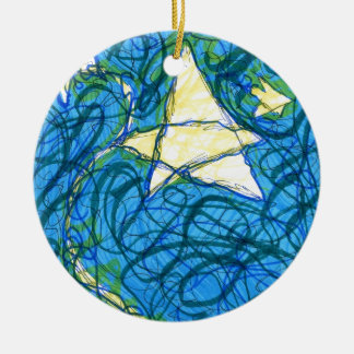 Starry Vibrato Double-Sided Ceramic Round Christmas Ornament