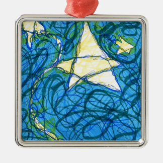 Starry Vibrato Square Metal Christmas Ornament