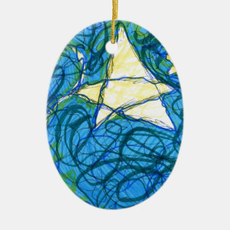 Starry Vibrato Double-Sided Oval Ceramic Christmas Ornament