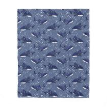 Starry Whale Shark (Dark) Fleece Blanket