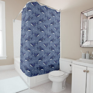 Starry Whale Shark Dark Shower Curtain