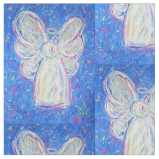 Starry White Guardian Angel Art Fabric Material