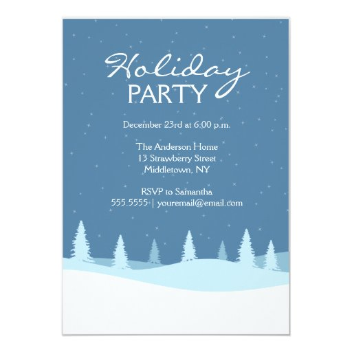 Starry Winter Night Holiday Party Invite