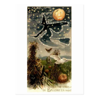 Starry Witch on Broomstick Postcard