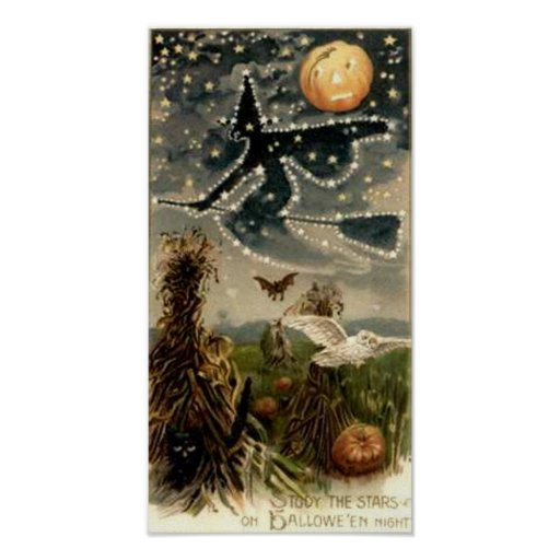 Starry Witch on Broomstick Poster