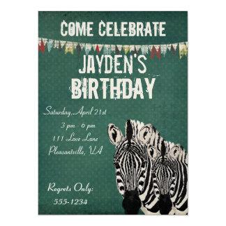 Starry Zebras Retro Birthday Invitation
