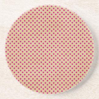 stars08-pink STARS PATTERN CREAM DARK PINK RED TEM Drink Coaster