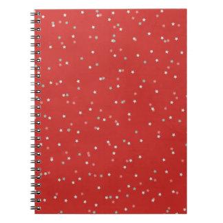 STARS12 RED WHITE LIGHT GREY GRAY STARS SHAPES PAT NOTEBOOK