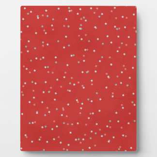 STARS12 RED WHITE LIGHT GREY GRAY STARS SHAPES PAT DISPLAY PLAQUE