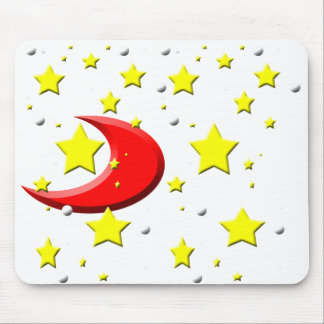 Stars & a Red Moon Mouse Pad