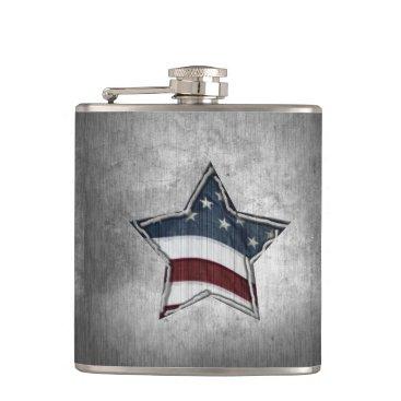 USA Themed Stars and Bars Flask