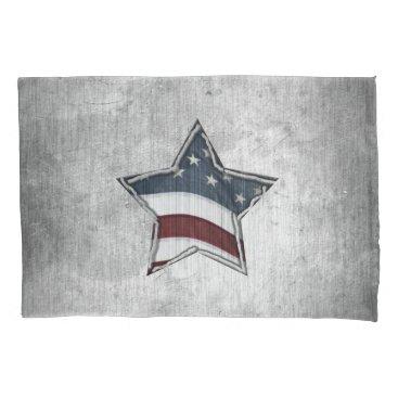 USA Themed Stars and Bars Pillowcase