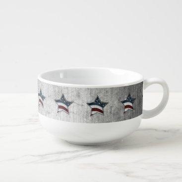 USA Themed Stars and Bars Soup Mug