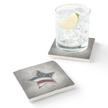 USA Themed Stars and Bars Stone Coaster