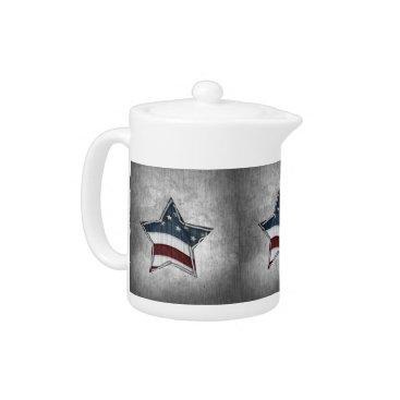 USA Themed Stars and Bars Tea Pot