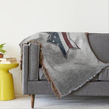 USA Themed Stars and Bars Throw Blanket