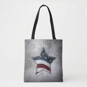 USA Themed Stars and Bars Tote Bag