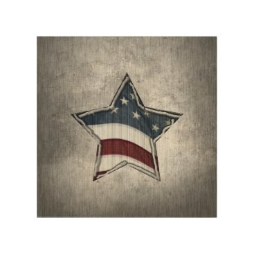 USA Themed Stars and Bars Wood Wall Art