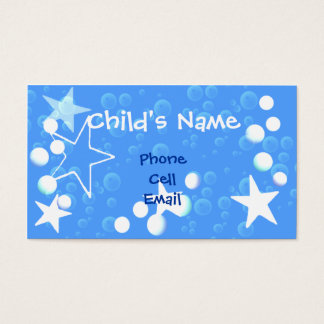 Stars and Bubbles Children's Calling Card