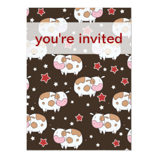 Stars and Cute Cows Pattern 5.5x7.5 Paper Invitation Card