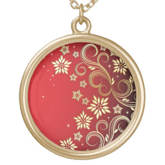Stars and Flowers Gold Plated Necklace