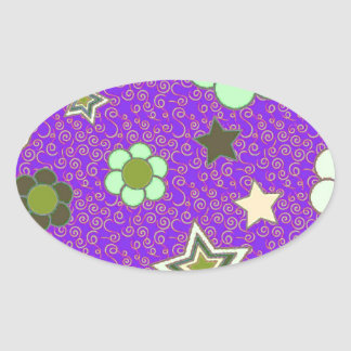 Stars and Flowers! Oval Sticker