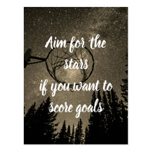 Stars And goals Motivational Netball Quote Postcard