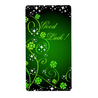 Stars and green clovers label