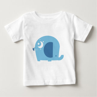 Stars and Moon Blue Elephant Baby T-Shirt