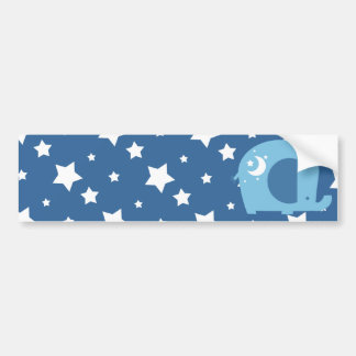 Stars and Moon Blue Elephant Bumper Sticker