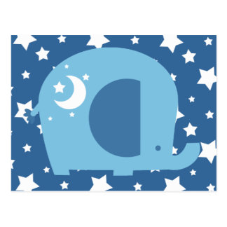 Stars and Moon Blue Elephant Post Cards
