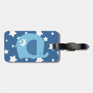 Stars and Moon Blue Elephant Tag For Luggage