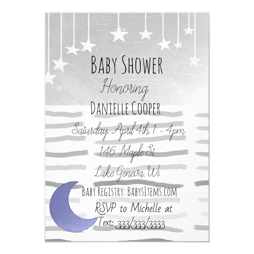 Stars and Moon Boy's Baby Shower Invitation