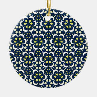 Stars and moon tessellation ceramic ornament