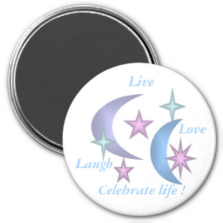 stars and moons 3 inch round magnet