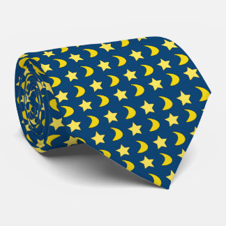 Stars And Moons Blue And Yellow Tie