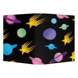 stars and planets on black notebook binder