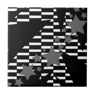 Stars and Rectangles in Grey White and Black Ceramic Tiles