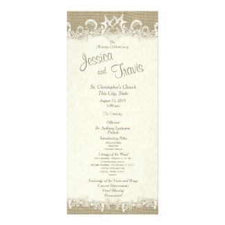 Stars and Sand Burlap Beach Wedding Program