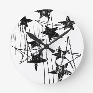 Stars and Scribbles Round Clocks