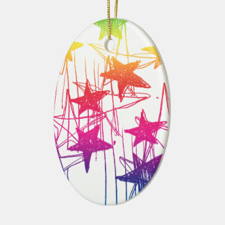 Stars and Scribbles Rainbow Ceramic Ornament