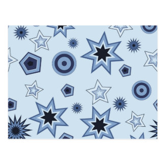 Stars and Shapes in Blue Postcard