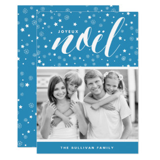 Stars and Snowflakes Joyeux Noël Blue Holiday Card