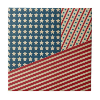 Stars and Striped Triangle Ceramic Tiles