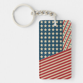 Stars and Striped Triangle Rectangle Acrylic Keychains