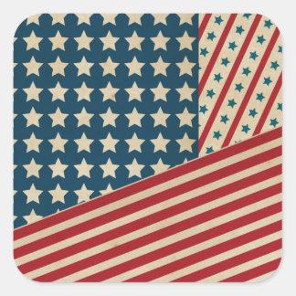 Stars and Striped Triangle Square Sticker
